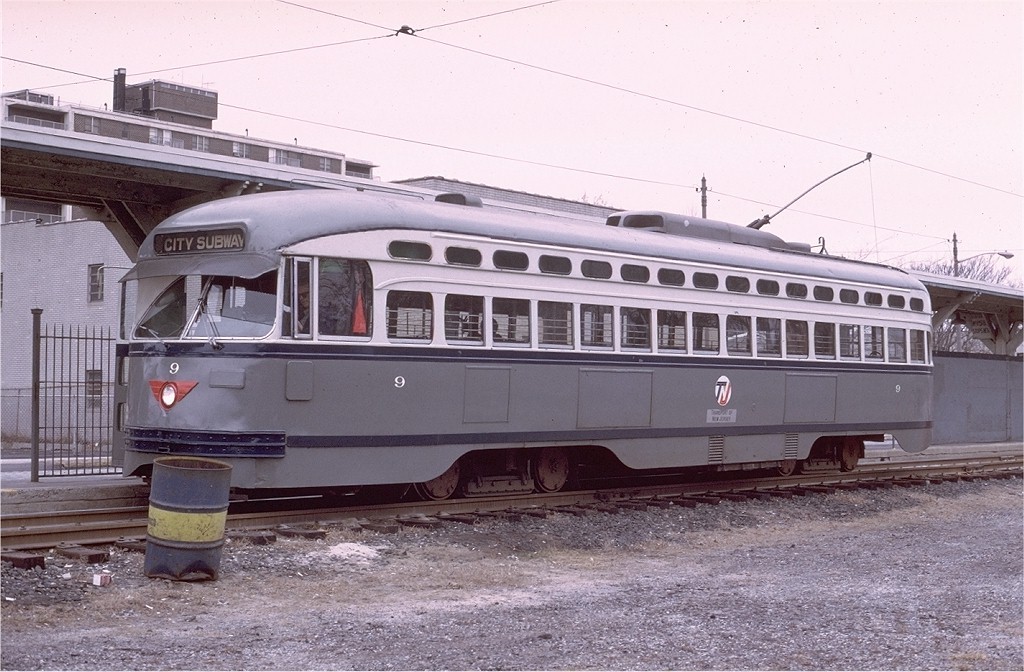 (203k, 1024x672)<br><b>Country:</b> United States<br><b>City:</b> Newark, NJ<br><b>System:</b> Newark City Subway<br><b>Location:</b> Franklin Avenue <br><b>Route:</b> 7-City Subway<br><b>Car:</b> NJTransit/PSCT PCC (Ex-Twin City) (St. Louis Car Co., 1946-1947) 9 <br><b>Photo by:</b> Ed McKernan<br><b>Collection of:</b> Joe Testagrose<br><b>Date:</b> 2/1975<br><b>Viewed (this week/total):</b> 1 / 975