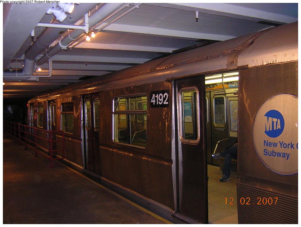 (285k, 1044x788)<br><b>Country:</b> United States<br><b>City:</b> New York<br><b>System:</b> New York City Transit<br><b>Location:</b> New York Transit Museum<br><b>Car:</b> R-40 (St. Louis, 1968)  4192 <br><b>Photo by:</b> Robert Mencher<br><b>Date:</b> 12/2/2007<br><b>Viewed (this week/total):</b> 7 / 3494