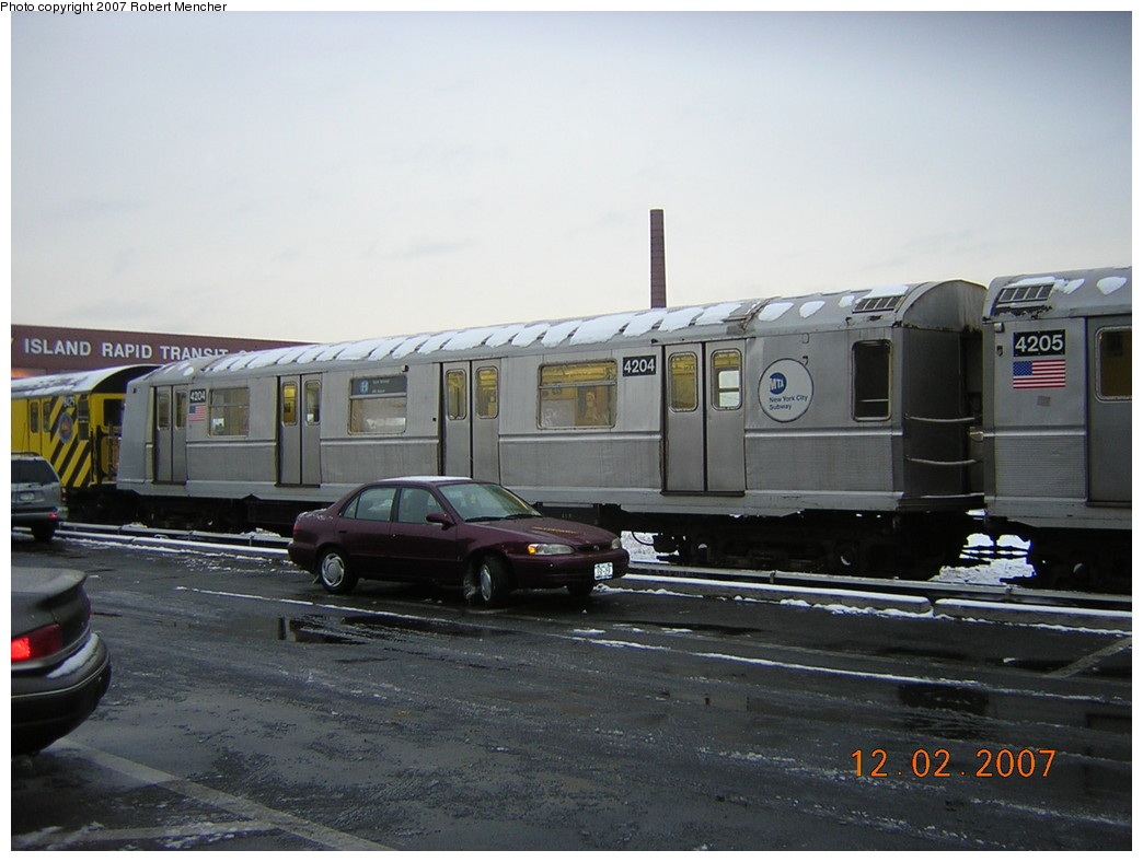 (207k, 1044x788)<br><b>Country:</b> United States<br><b>City:</b> New York<br><b>System:</b> New York City Transit<br><b>Location:</b> Coney Island Yard<br><b>Car:</b> R-40 (St. Louis, 1968)  4204 <br><b>Photo by:</b> Robert Mencher<br><b>Date:</b> 12/2/2007<br><b>Viewed (this week/total):</b> 0 / 2530