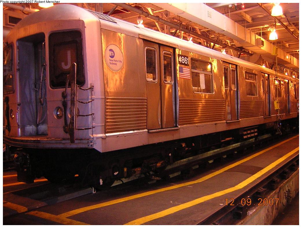 (309k, 1044x788)<br><b>Country:</b> United States<br><b>City:</b> New York<br><b>System:</b> New York City Transit<br><b>Location:</b> East New York Yard/Shops<br><b>Car:</b> R-42 (St. Louis, 1969-1970)  4861 <br><b>Photo by:</b> Robert Mencher<br><b>Date:</b> 12/9/2007<br><b>Viewed (this week/total):</b> 1 / 1379