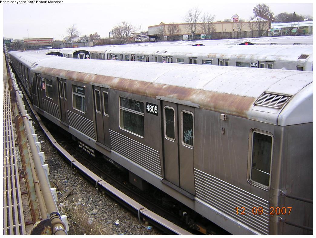 (283k, 1044x788)<br><b>Country:</b> United States<br><b>City:</b> New York<br><b>System:</b> New York City Transit<br><b>Location:</b> East New York Yard/Shops<br><b>Car:</b> R-42 (St. Louis, 1969-1970)  4805 <br><b>Photo by:</b> Robert Mencher<br><b>Date:</b> 12/9/2007<br><b>Viewed (this week/total):</b> 1 / 1415