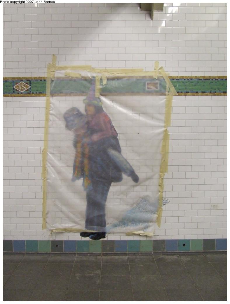 (161k, 788x1044)<br><b>Country:</b> United States<br><b>City:</b> New York<br><b>System:</b> New York City Transit<br><b>Line:</b> IRT West Side Line<br><b>Location:</b> Times Square/42nd Street <br><b>Photo by:</b> John Barnes<br><b>Date:</b> 12/22/2007<br><b>Artwork:</b> <i>The Revelers</i>, Jane Dickson (2007).<br><b>Viewed (this week/total):</b> 2 / 1398
