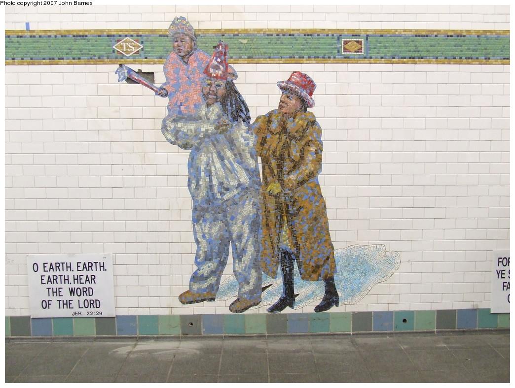 (233k, 1044x788)<br><b>Country:</b> United States<br><b>City:</b> New York<br><b>System:</b> New York City Transit<br><b>Line:</b> IRT West Side Line<br><b>Location:</b> Times Square/42nd Street <br><b>Photo by:</b> John Barnes<br><b>Date:</b> 12/22/2007<br><b>Artwork:</b> <i>The Revelers</i>, Jane Dickson (2007).<br><b>Viewed (this week/total):</b> 2 / 1209