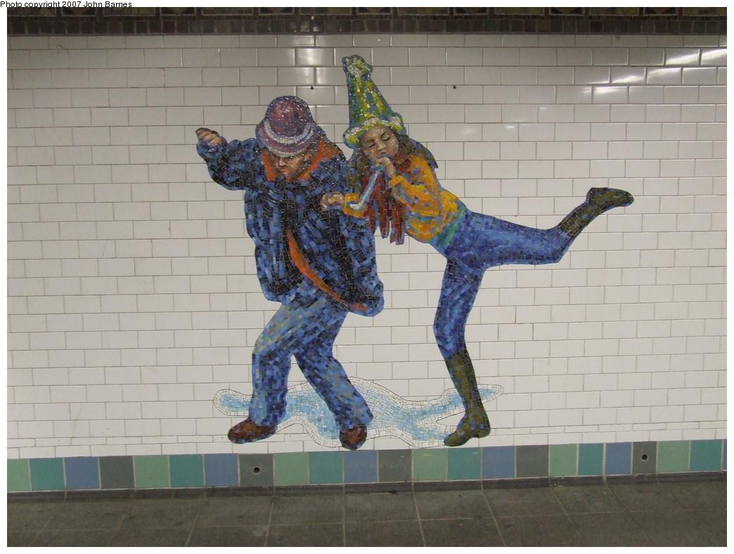 (202k, 1044x788)<br><b>Country:</b> United States<br><b>City:</b> New York<br><b>System:</b> New York City Transit<br><b>Line:</b> IRT West Side Line<br><b>Location:</b> Times Square/42nd Street <br><b>Photo by:</b> John Barnes<br><b>Date:</b> 12/22/2007<br><b>Artwork:</b> <i>The Revelers</i>, Jane Dickson (2007).<br><b>Viewed (this week/total):</b> 2 / 1271
