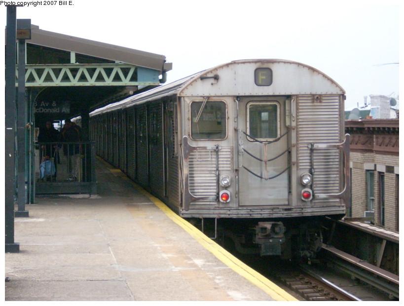 (157k, 819x619)<br><b>Country:</b> United States<br><b>City:</b> New York<br><b>System:</b> New York City Transit<br><b>Line:</b> BMT Culver Line<br><b>Location:</b> 18th Avenue <br><b>Route:</b> F<br><b>Car:</b> R-32 (Budd, 1964)  3353 <br><b>Photo by:</b> Bill E.<br><b>Date:</b> 12/22/2007<br><b>Viewed (this week/total):</b> 0 / 1905