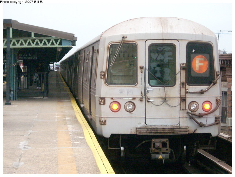 (157k, 819x619)<br><b>Country:</b> United States<br><b>City:</b> New York<br><b>System:</b> New York City Transit<br><b>Line:</b> BMT Culver Line<br><b>Location:</b> 18th Avenue <br><b>Route:</b> F<br><b>Car:</b> R-46 (Pullman-Standard, 1974-75)  <br><b>Photo by:</b> Bill E.<br><b>Date:</b> 12/22/2007<br><b>Viewed (this week/total):</b> 0 / 1459