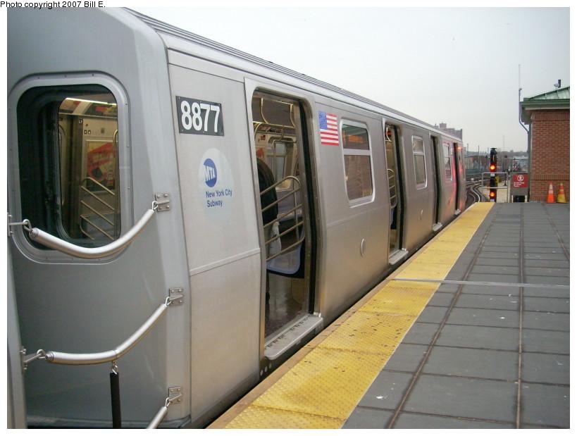 (150k, 819x619)<br><b>Country:</b> United States<br><b>City:</b> New York<br><b>System:</b> New York City Transit<br><b>Location:</b> Coney Island/Stillwell Avenue<br><b>Route:</b> N<br><b>Car:</b> R-160B (Kawasaki, 2005-2008)  8877 <br><b>Photo by:</b> Bill E.<br><b>Date:</b> 12/22/2007<br><b>Viewed (this week/total):</b> 0 / 2302