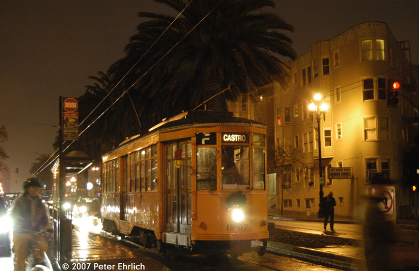 (182k, 864x560)<br><b>Country:</b> United States<br><b>City:</b> San Francisco/Bay Area, CA<br><b>System:</b> SF MUNI<br><b>Location:</b> Market/Church/14th <br><b>Car:</b> Milan Milano/Peter Witt (1927-1930)  1807 <br><b>Photo by:</b> Peter Ehrlich<br><b>Date:</b> 12/6/2007<br><b>Notes:</b> Market/Church outbound.<br><b>Viewed (this week/total):</b> 0 / 457