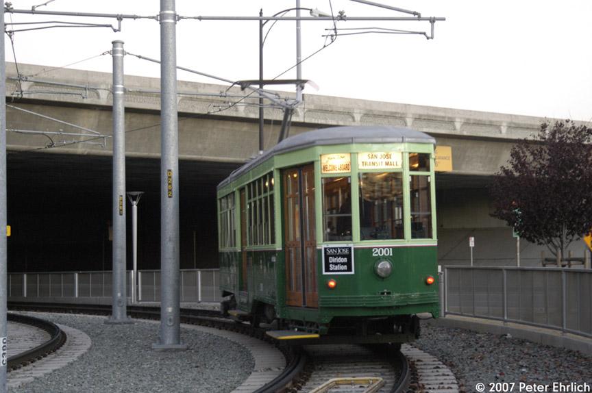 (157k, 864x574)<br><b>Country:</b> United States<br><b>City:</b> San Jose, CA<br><b>System:</b> Santa Clara VTA<br><b>Line:</b> VTA Vasona Line<br><b>Location:</b> Along Delmas Street <br><b>Car:</b> Milan Milano/Peter Witt (1927-1930)  2001 <br><b>Photo by:</b> Peter Ehrlich<br><b>Date:</b> 12/15/2007<br><b>Notes:</b> Delmas/San Carlos inbound.<br><b>Viewed (this week/total):</b> 0 / 792