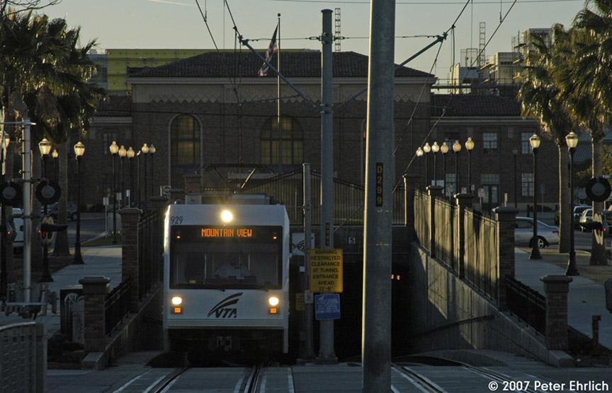 (171k, 864x556)<br><b>Country:</b> United States<br><b>City:</b> San Jose, CA<br><b>System:</b> Santa Clara VTA<br><b>Line:</b> VTA Vasona Line<br><b>Location:</b> San Jose Diridon <br><b>Car:</b> VTA Kinki-Sharyo 929 <br><b>Photo by:</b> Peter Ehrlich<br><b>Date:</b> 12/15/2007<br><b>Notes:</b> Leaving subway under Caltrain at San Jose Diridon Station inbound.<br><b>Viewed (this week/total):</b> 0 / 777