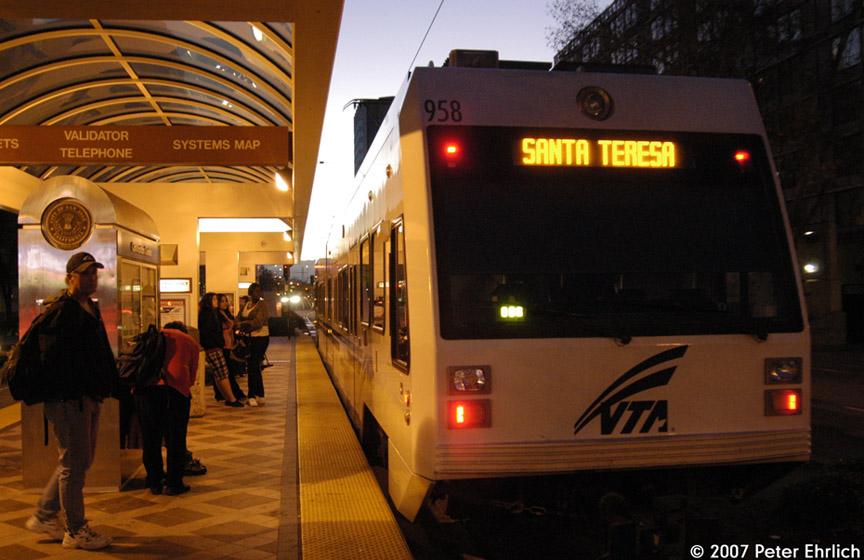 (174k, 864x560)<br><b>Country:</b> United States<br><b>City:</b> San Jose, CA<br><b>System:</b> Santa Clara VTA<br><b>Line:</b> VTA 1st St/Downtown/St. Teresa<br><b>Location:</b> Convention Center <br><b>Car:</b> VTA Kinki-Sharyo 958 <br><b>Photo by:</b> Peter Ehrlich<br><b>Date:</b> 12/15/2007<br><b>Notes:</b> Convention Center Station outbound (to Santa Teresa Line).<br><b>Viewed (this week/total):</b> 0 / 917