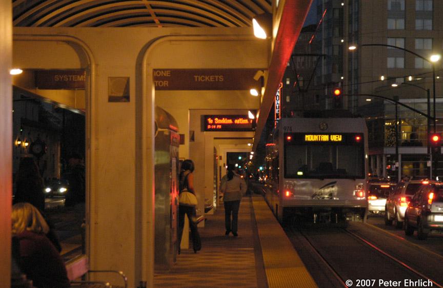 (181k, 864x562)<br><b>Country:</b> United States<br><b>City:</b> San Jose, CA<br><b>System:</b> Santa Clara VTA<br><b>Line:</b> VTA 1st St/Downtown/St. Teresa<br><b>Location:</b> Convention Center <br><b>Car:</b> VTA Kinki-Sharyo 974 <br><b>Photo by:</b> Peter Ehrlich<br><b>Date:</b> 12/15/2007<br><b>Notes:</b> Convention Center Station inbound.<br><b>Viewed (this week/total):</b> 0 / 884