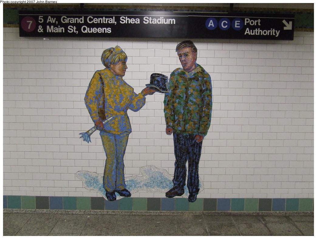 (221k, 1044x788)<br><b>Country:</b> United States<br><b>City:</b> New York<br><b>System:</b> New York City Transit<br><b>Line:</b> IRT West Side Line<br><b>Location:</b> Times Square/42nd Street <br><b>Photo by:</b> John Barnes<br><b>Date:</b> 12/27/2007<br><b>Artwork:</b> <i>The Revelers</i>, Jane Dickson (2007).<br><b>Viewed (this week/total):</b> 0 / 1512