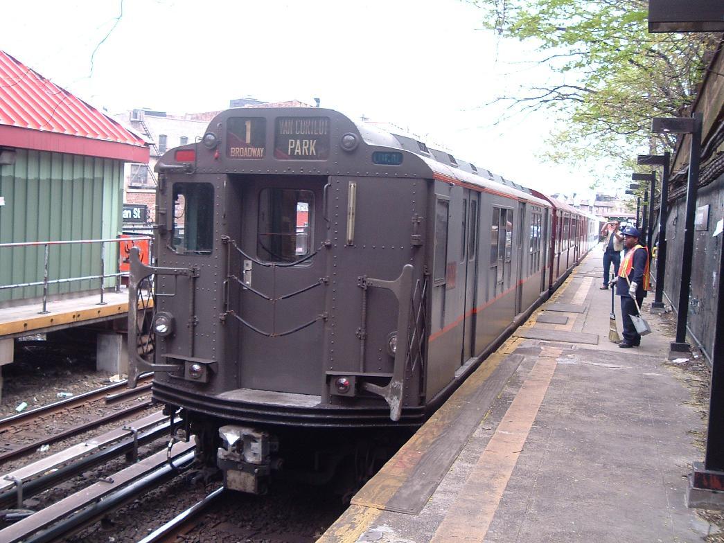 (143k, 1045x784)<br><b>Country:</b> United States<br><b>City:</b> New York<br><b>System:</b> New York City Transit<br><b>Line:</b> IRT West Side Line<br><b>Location:</b> Dyckman Street <br><b>Route:</b> Fan Trip<br><b>Car:</b> R-12 (American Car & Foundry, 1948) 5760 <br><b>Photo by:</b> Chris Reidy<br><b>Date:</b> 4/25/2004<br><b>Viewed (this week/total):</b> 0 / 1602