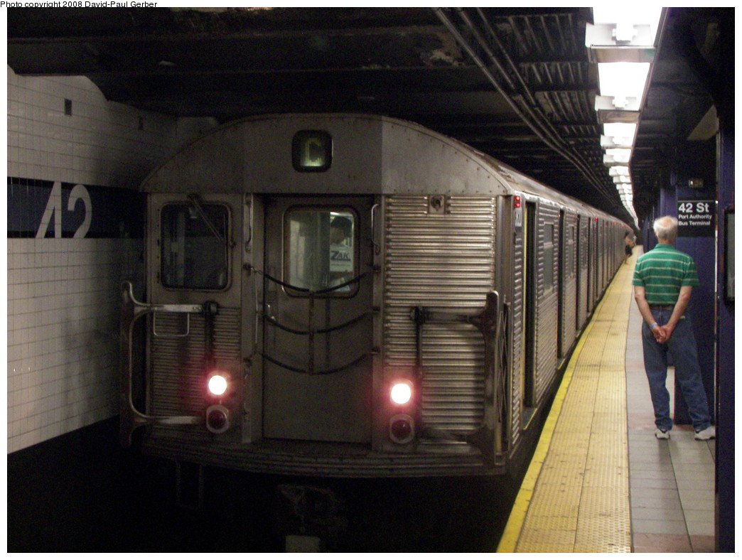 (269k, 1044x788)<br><b>Country:</b> United States<br><b>City:</b> New York<br><b>System:</b> New York City Transit<br><b>Line:</b> IND 8th Avenue Line<br><b>Location:</b> 42nd Street/Port Authority Bus Terminal <br><b>Route:</b> C<br><b>Car:</b> R-32 (Budd, 1964)   <br><b>Photo by:</b> David-Paul Gerber<br><b>Date:</b> 9/8/2007<br><b>Viewed (this week/total):</b> 4 / 2252