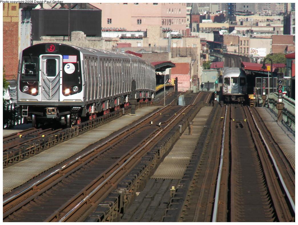 (319k, 1044x788)<br><b>Country:</b> United States<br><b>City:</b> New York<br><b>System:</b> New York City Transit<br><b>Line:</b> BMT Nassau Street/Jamaica Line<br><b>Location:</b> Myrtle Avenue <br><b>Route:</b> Z<br><b>Car:</b> R-160A-1 (Alstom, 2005-2008, 4 car sets)   <br><b>Photo by:</b> David-Paul Gerber<br><b>Date:</b> 9/19/2007<br><b>Viewed (this week/total):</b> 0 / 3356