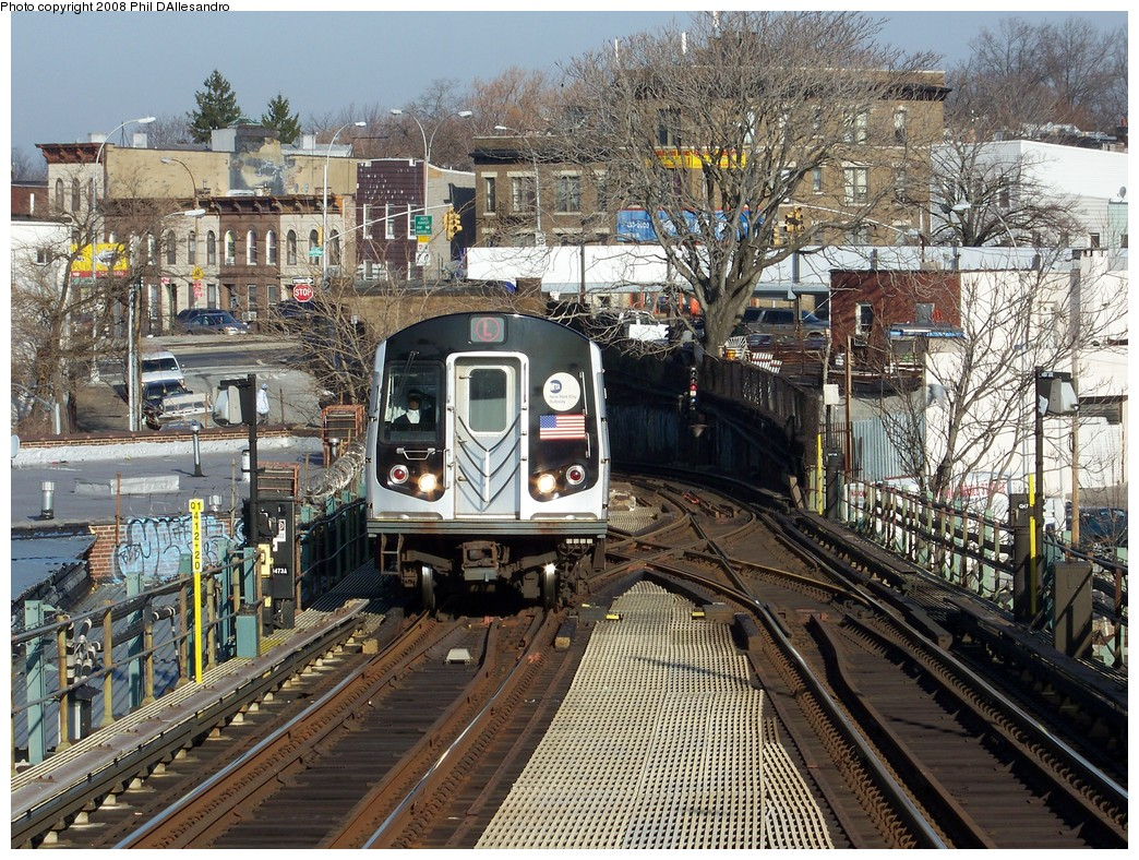 (365k, 1044x788)<br><b>Country:</b> United States<br><b>City:</b> New York<br><b>System:</b> New York City Transit<br><b>Line:</b> BMT Canarsie Line<br><b>Location:</b> Broadway Junction <br><b>Route:</b> L<br><b>Car:</b> R-143 (Kawasaki, 2001-2002) 8108 <br><b>Photo by:</b> Philip D'Allesandro<br><b>Date:</b> 12/28/2007<br><b>Viewed (this week/total):</b> 0 / 3144