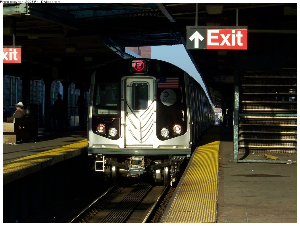 (201k, 1044x788)<br><b>Country:</b> United States<br><b>City:</b> New York<br><b>System:</b> New York City Transit<br><b>Line:</b> BMT Nassau Street/Jamaica Line<br><b>Location:</b> Myrtle Avenue <br><b>Route:</b> Z<br><b>Car:</b> R-160A-1 (Alstom, 2005-2008, 4 car sets)  8389 <br><b>Photo by:</b> Philip D'Allesandro<br><b>Date:</b> 12/28/2007<br><b>Viewed (this week/total):</b> 0 / 2377