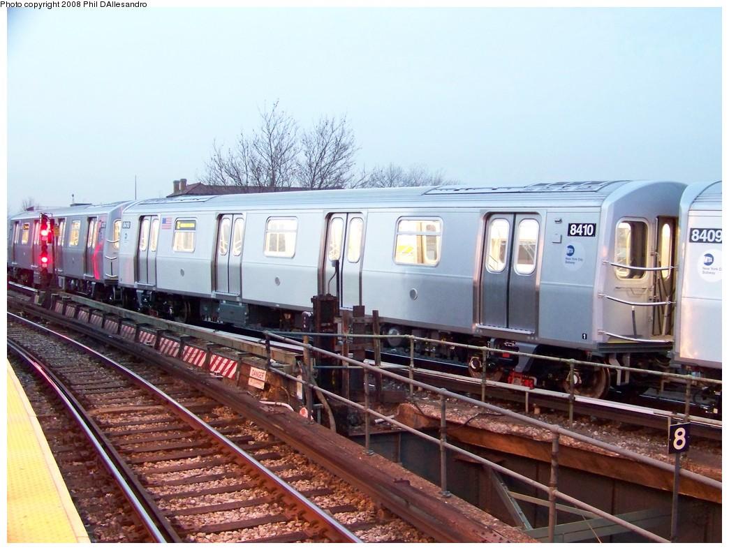 (226k, 1044x788)<br><b>Country:</b> United States<br><b>City:</b> New York<br><b>System:</b> New York City Transit<br><b>Location:</b> East New York Yard/Shops<br><b>Car:</b> R-160A-1 (Alstom, 2005-2008, 4 car sets)  8410 <br><b>Photo by:</b> Philip D'Allesandro<br><b>Date:</b> 12/28/2007<br><b>Viewed (this week/total):</b> 2 / 2601