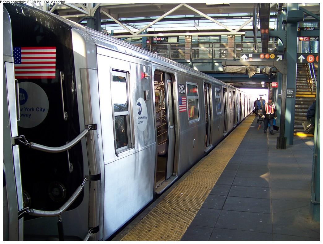 (247k, 1044x788)<br><b>Country:</b> United States<br><b>City:</b> New York<br><b>System:</b> New York City Transit<br><b>Location:</b> Coney Island/Stillwell Avenue<br><b>Route:</b> N<br><b>Car:</b> R-160B (Kawasaki, 2005-2008)  8883 <br><b>Photo by:</b> Philip D'Allesandro<br><b>Date:</b> 12/28/2007<br><b>Viewed (this week/total):</b> 1 / 2378