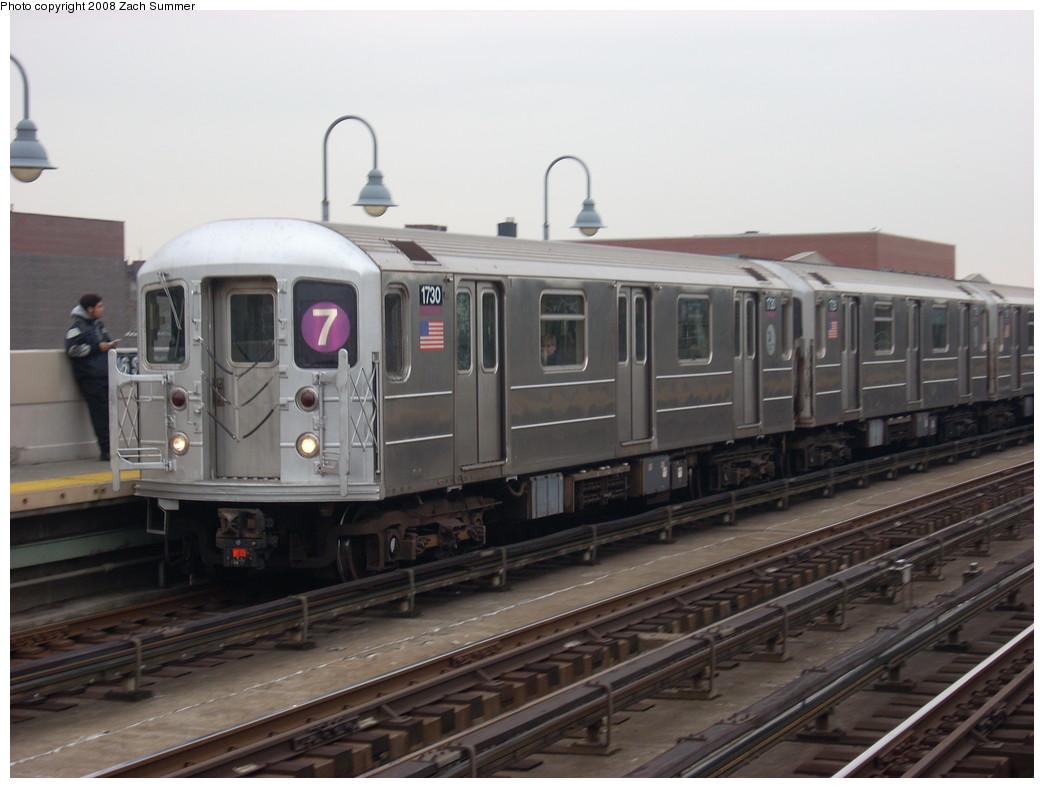 (204k, 1044x788)<br><b>Country:</b> United States<br><b>City:</b> New York<br><b>System:</b> New York City Transit<br><b>Line:</b> IRT Flushing Line<br><b>Location:</b> 46th Street/Bliss Street <br><b>Route:</b> 7<br><b>Car:</b> R-62A (Bombardier, 1984-1987)  1730 <br><b>Photo by:</b> Zach Summer<br><b>Date:</b> 12/11/2007<br><b>Viewed (this week/total):</b> 1 / 1860