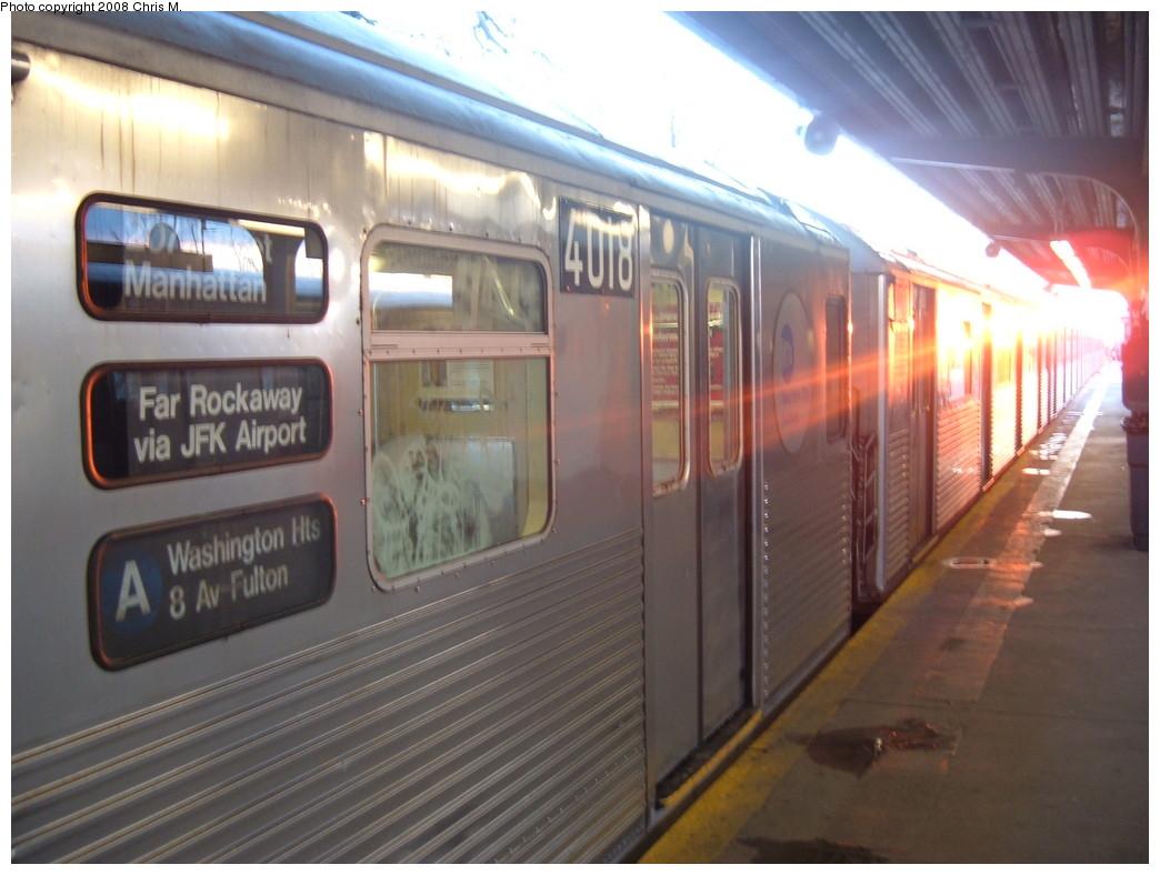 (190k, 1044x788)<br><b>Country:</b> United States<br><b>City:</b> New York<br><b>System:</b> New York City Transit<br><b>Line:</b> IND Rockaway<br><b>Location:</b> Mott Avenue/Far Rockaway <br><b>Route:</b> A<br><b>Car:</b> R-38 (St. Louis, 1966-1967)  4108 <br><b>Photo by:</b> Chris M.<br><b>Date:</b> 1/1/2008<br><b>Viewed (this week/total):</b> 4 / 1919