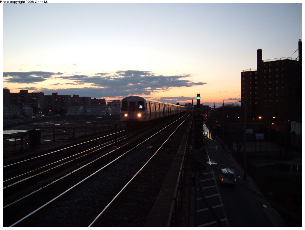 (147k, 1044x788)<br><b>Country:</b> United States<br><b>City:</b> New York<br><b>System:</b> New York City Transit<br><b>Line:</b> IND Rockaway<br><b>Location:</b> Beach 67th Street/Gaston Avenue <br><b>Route:</b> A<br><b>Car:</b> R-44 (St. Louis, 1971-73)  <br><b>Photo by:</b> Chris M.<br><b>Date:</b> 1/1/2008<br><b>Viewed (this week/total):</b> 2 / 1968