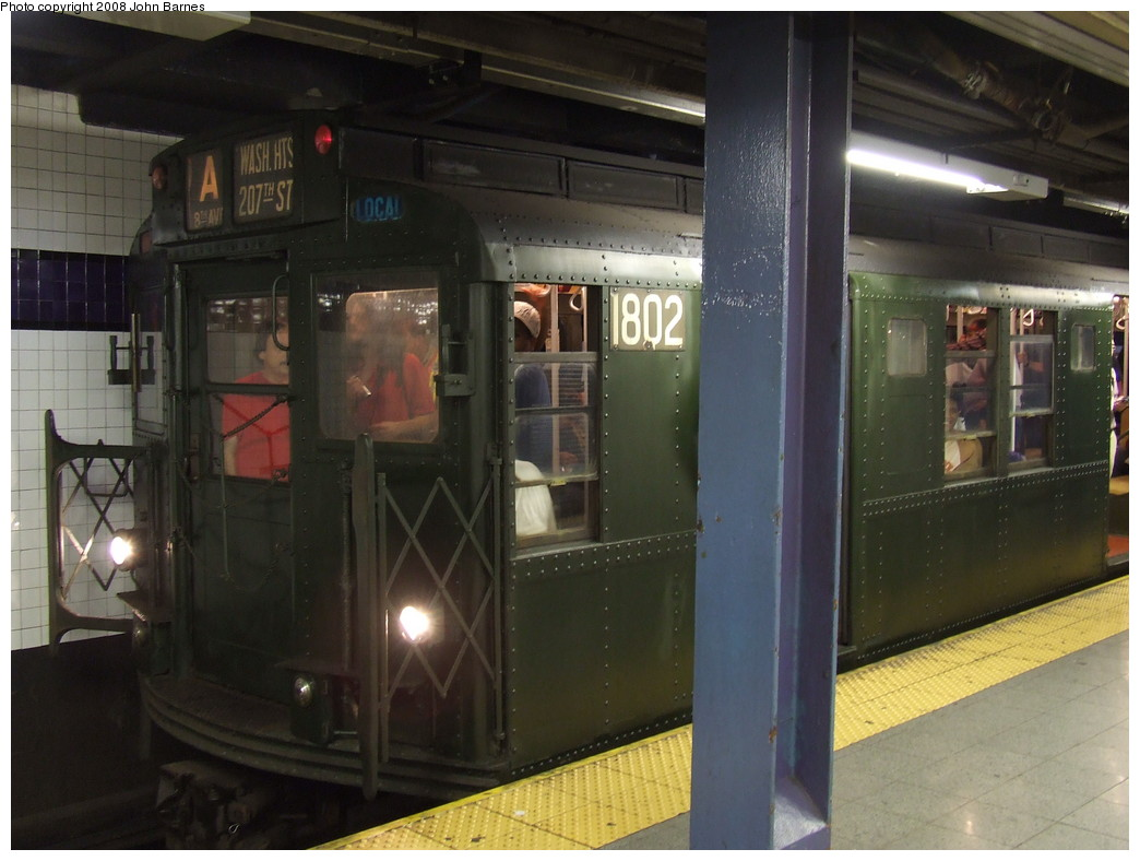 (188k, 1044x788)<br><b>Country:</b> United States<br><b>City:</b> New York<br><b>System:</b> New York City Transit<br><b>Line:</b> IND 8th Avenue Line<br><b>Location:</b> Chambers Street/World Trade Center <br><b>Route:</b> Fan Trip<br><b>Car:</b> R-9 (Pressed Steel, 1940)  1802 <br><b>Photo by:</b> John Barnes<br><b>Date:</b> 9/10/2007<br><b>Notes:</b> IND 75th Anniversary special.<br><b>Viewed (this week/total):</b> 0 / 1643