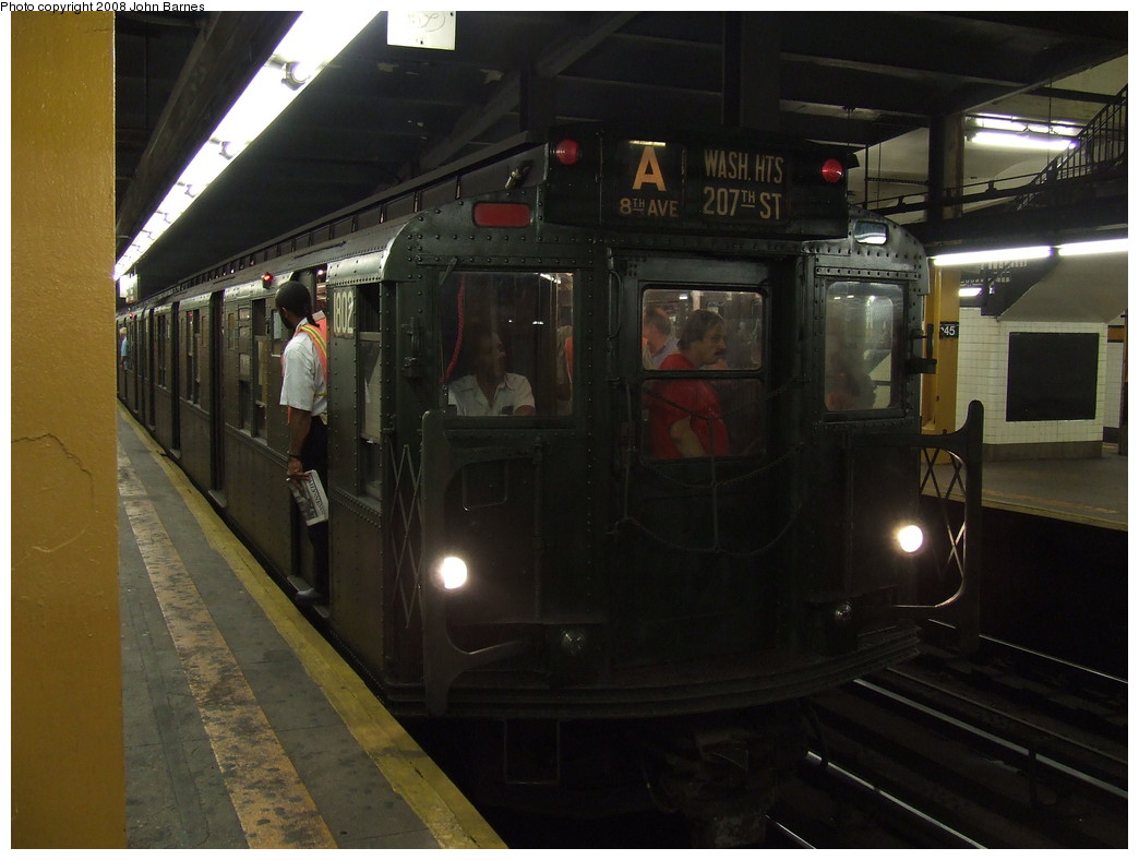 (181k, 1044x788)<br><b>Country:</b> United States<br><b>City:</b> New York<br><b>System:</b> New York City Transit<br><b>Line:</b> IND 8th Avenue Line<br><b>Location:</b> 145th Street <br><b>Route:</b> Fan Trip<br><b>Car:</b> R-9 (Pressed Steel, 1940)  1802 <br><b>Photo by:</b> John Barnes<br><b>Date:</b> 9/10/2007<br><b>Notes:</b> IND 75th Anniversary special.<br><b>Viewed (this week/total):</b> 0 / 2304
