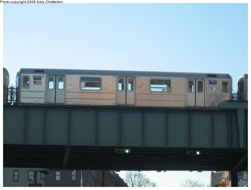 (79k, 820x620)<br><b>Country:</b> United States<br><b>City:</b> New York<br><b>System:</b> New York City Transit<br><b>Line:</b> IRT Flushing Line<br><b>Location:</b> 46th Street/Bliss Street <br><b>Route:</b> 7<br><b>Car:</b> R-62A (Bombardier, 1984-1987)  1753 <br><b>Photo by:</b> Gary Chatterton<br><b>Date:</b> 1/12/2008<br><b>Viewed (this week/total):</b> 0 / 1859