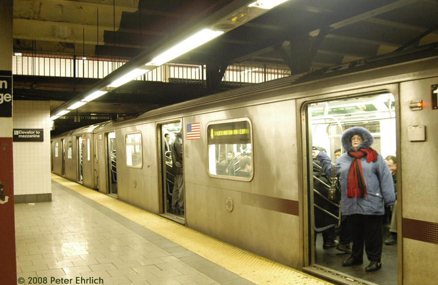 (178k, 864x562)<br><b>Country:</b> United States<br><b>City:</b> New York<br><b>System:</b> New York City Transit<br><b>Line:</b> IRT East Side Line<br><b>Location:</b> Brooklyn Bridge/City Hall <br><b>Route:</b> 4<br><b>Car:</b> R-142 (Option Order, Bombardier, 2002-2003)  1181 <br><b>Photo by:</b> Peter Ehrlich<br><b>Date:</b> 1/3/2008<br><b>Notes:</b> Brooklyn Bridge.  Line 4 southbound.<br><b>Viewed (this week/total):</b> 1 / 4672