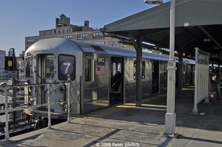 (186k, 864x574)<br><b>Country:</b> United States<br><b>City:</b> New York<br><b>System:</b> New York City Transit<br><b>Line:</b> IRT Flushing Line<br><b>Location:</b> Queensborough Plaza <br><b>Route:</b> 7<br><b>Car:</b> R-62A (Bombardier, 1984-1987)  1962 <br><b>Photo by:</b> Peter Ehrlich<br><b>Date:</b> 1/3/2008<br><b>Viewed (this week/total):</b> 1 / 1818