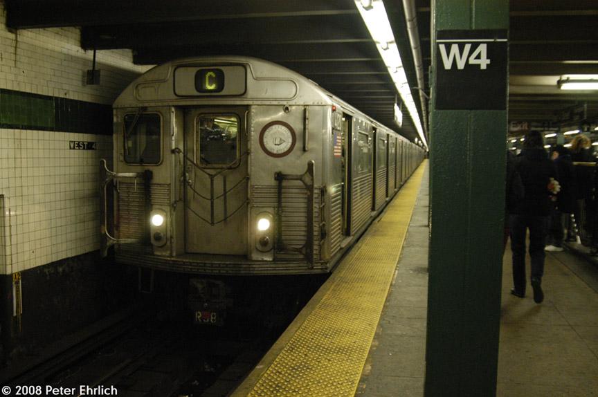 (166k, 864x574)<br><b>Country:</b> United States<br><b>City:</b> New York<br><b>System:</b> New York City Transit<br><b>Line:</b> IND 8th Avenue Line<br><b>Location:</b> West 4th Street/Washington Square <br><b>Route:</b> C<br><b>Car:</b> R-38 (St. Louis, 1966-1967)  4120 <br><b>Photo by:</b> Peter Ehrlich<br><b>Date:</b> 1/3/2008<br><b>Notes:</b> West 4th Street northbound.<br><b>Viewed (this week/total):</b> 0 / 1720