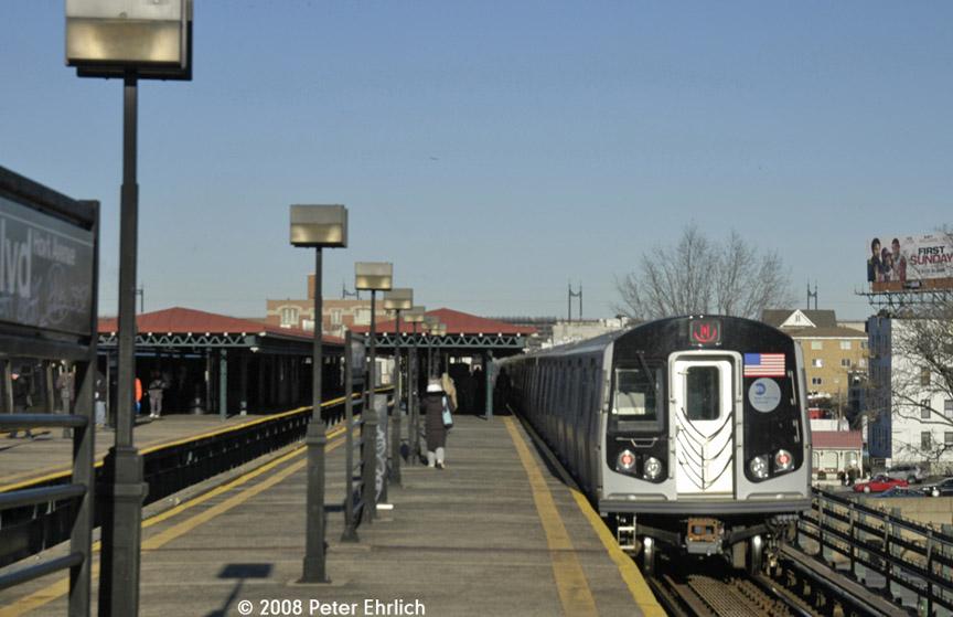 (144k, 864x559)<br><b>Country:</b> United States<br><b>City:</b> New York<br><b>System:</b> New York City Transit<br><b>Line:</b> BMT Astoria Line<br><b>Location:</b> Astoria Boulevard/Hoyt Avenue <br><b>Route:</b> N<br><b>Car:</b> R-160B (Kawasaki, 2005-2008)  8878 <br><b>Photo by:</b> Peter Ehrlich<br><b>Date:</b> 1/3/2008<br><b>Notes:</b> Leaving Astoria Blvd. outbound, trailing view.<br><b>Viewed (this week/total):</b> 0 / 1911