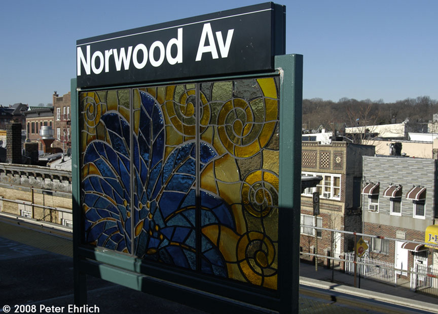 (172k, 864x621)<br><b>Country:</b> United States<br><b>City:</b> New York<br><b>System:</b> New York City Transit<br><b>Line:</b> BMT Nassau Street/Jamaica Line<br><b>Location:</b> Norwood Avenue <br><b>Photo by:</b> Peter Ehrlich<br><b>Date:</b> 1/3/2008<br><b>Artwork:</b> <i>Culture Swirl</i>, Margaret Lanzetta (2007).<br><b>Viewed (this week/total):</b> 1 / 1378