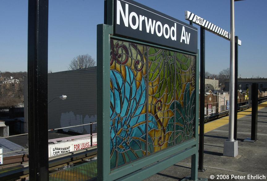 (186k, 864x585)<br><b>Country:</b> United States<br><b>City:</b> New York<br><b>System:</b> New York City Transit<br><b>Line:</b> BMT Nassau Street/Jamaica Line<br><b>Location:</b> Norwood Avenue <br><b>Photo by:</b> Peter Ehrlich<br><b>Date:</b> 1/3/2008<br><b>Artwork:</b> <i>Culture Swirl</i>, Margaret Lanzetta (2007).<br><b>Viewed (this week/total):</b> 5 / 1700