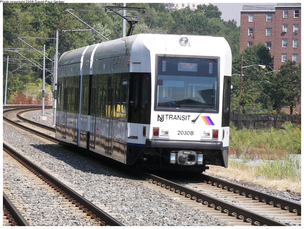 (381k, 1044x788)<br><b>Country:</b> United States<br><b>City:</b> Hoboken, NJ<br><b>System:</b> Hudson Bergen Light Rail<br><b>Location:</b> 2nd Street <br><b>Car:</b> NJT-HBLR LRV (Kinki-Sharyo, 1998-99)  2030 <br><b>Photo by:</b> David-Paul Gerber<br><b>Date:</b> 9/21/2007<br><b>Viewed (this week/total):</b> 0 / 1156
