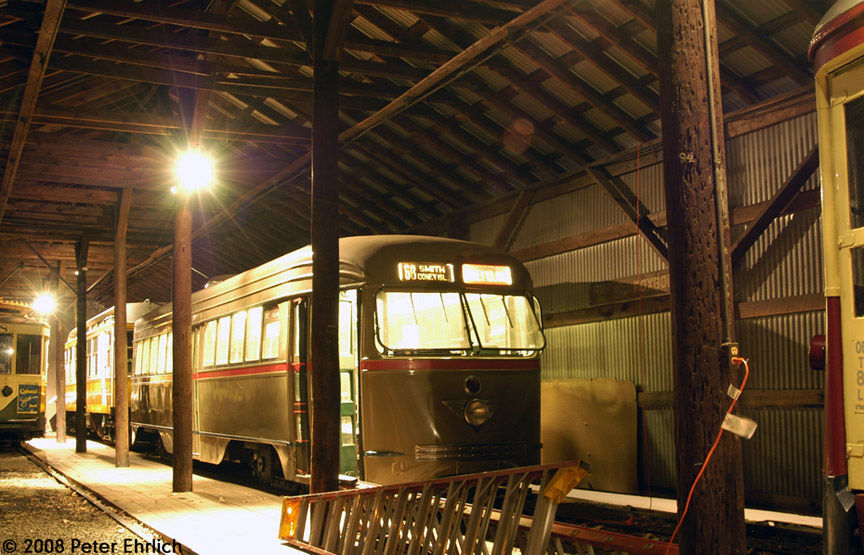 (211k, 864x555)<br><b>Country:</b> United States<br><b>City:</b> East Haven/Branford, Ct.<br><b>System:</b> Shore Line Trolley Museum <br><b>Car:</b> Brooklyn & Queens Transit PCC (St. Louis Car, 1936)  1001 <br><b>Photo by:</b> Peter Ehrlich<br><b>Date:</b> 12/23/2007<br><b>Notes:</b> Brooklyn & Queens Transit PCC.<br><b>Viewed (this week/total):</b> 1 / 1159
