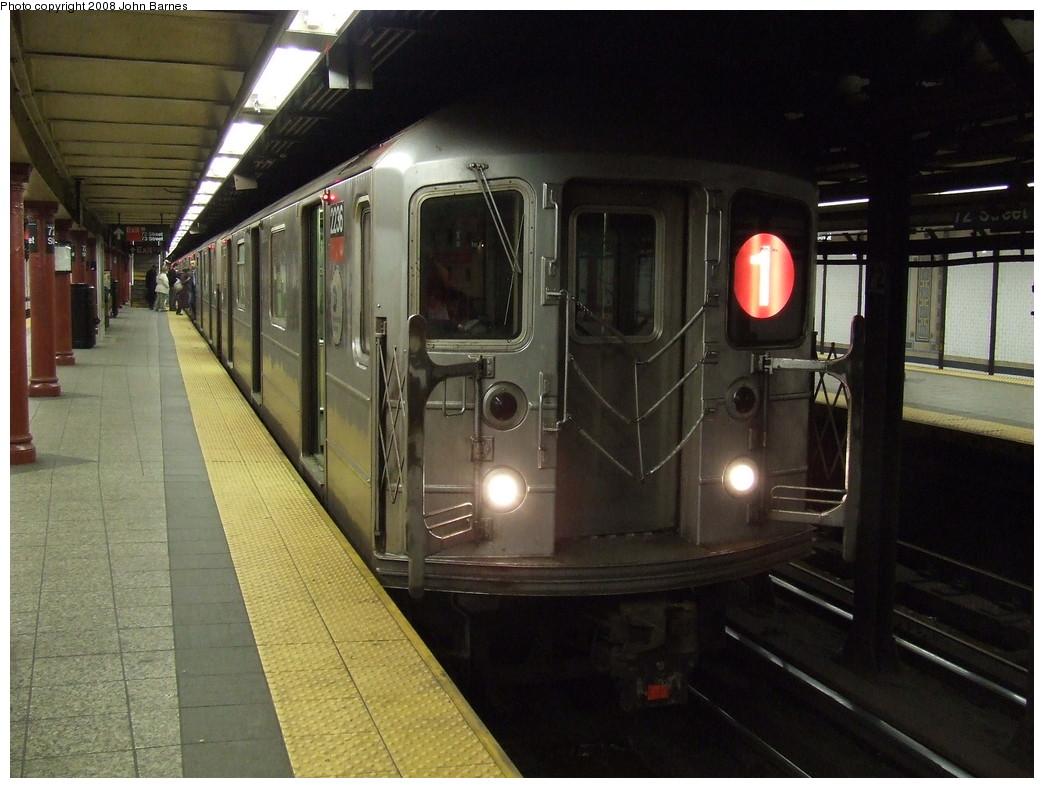 (208k, 1044x788)<br><b>Country:</b> United States<br><b>City:</b> New York<br><b>System:</b> New York City Transit<br><b>Line:</b> IRT West Side Line<br><b>Location:</b> 72nd Street <br><b>Route:</b> 1<br><b>Car:</b> R-62A (Bombardier, 1984-1987)  2236 <br><b>Photo by:</b> John Barnes<br><b>Date:</b> 4/21/2007<br><b>Viewed (this week/total):</b> 0 / 2511