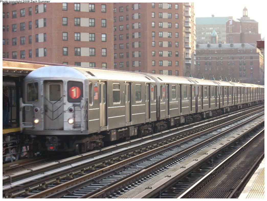 (284k, 1044x788)<br><b>Country:</b> United States<br><b>City:</b> New York<br><b>System:</b> New York City Transit<br><b>Line:</b> IRT West Side Line<br><b>Location:</b> 125th Street <br><b>Route:</b> 1<br><b>Car:</b> R-62A (Bombardier, 1984-1987)  2345 <br><b>Photo by:</b> Zach Summer<br><b>Date:</b> 12/14/2007<br><b>Viewed (this week/total):</b> 2 / 2275