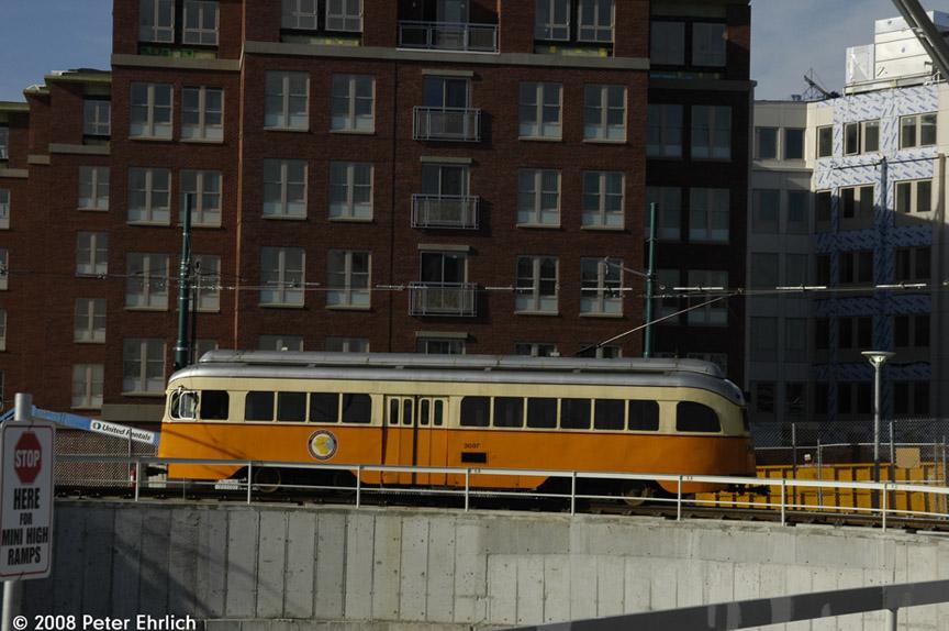 (175k, 864x574)<br><b>Country:</b> United States<br><b>City:</b> Boston, MA<br><b>System:</b> MBTA<br><b>Line:</b> MBTA Mattapan-Ashmont Line<br><b>Location:</b> Ashmont <br><b>Car:</b> MBTA/BSRy PCC Wartime (Pullman-Standard, 1945)  3087 <br><b>Photo by:</b> Peter Ehrlich<br><b>Date:</b> 1/8/2008<br><b>Notes:</b> Leaving Ashmont Station.<br><b>Viewed (this week/total):</b> 5 / 1144