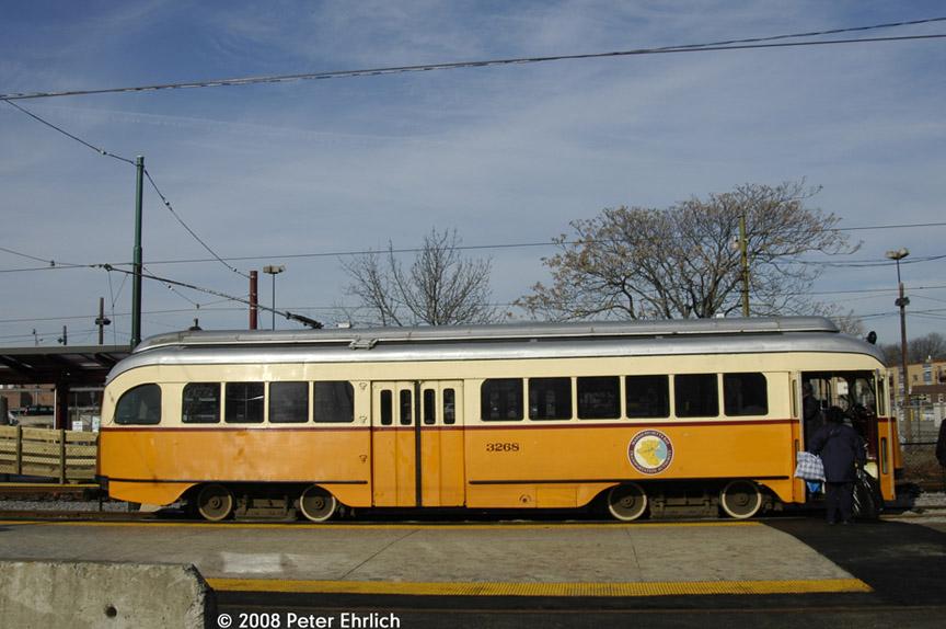 (162k, 864x574)<br><b>Country:</b> United States<br><b>City:</b> Boston, MA<br><b>System:</b> MBTA<br><b>Line:</b> MBTA Mattapan-Ashmont Line<br><b>Location:</b> Mattapan <br><b>Car:</b> MBTA/BSRy PCC Wartime (Pullman-Standard, 1945-46)  3268 <br><b>Photo by:</b> Peter Ehrlich<br><b>Date:</b> 1/8/2008<br><b>Notes:</b> Mattapan Station inbound, right side view.<br><b>Viewed (this week/total):</b> 1 / 1044