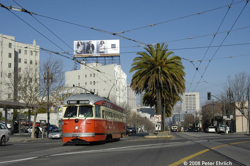 (193k, 864x574)<br><b>Country:</b> United States<br><b>City:</b> San Francisco/Bay Area, CA<br><b>System:</b> SF MUNI<br><b>Location:</b> Market/Duboce <br><b>Car:</b> SF MUNI PCC (Ex-SEPTA) (St. Louis Car Co., 1947-1948)  1059 <br><b>Photo by:</b> Peter Ehrlich<br><b>Date:</b> 1/12/2008<br><b>Notes:</b> Market/Duboce outbound.<br><b>Viewed (this week/total):</b> 0 / 563