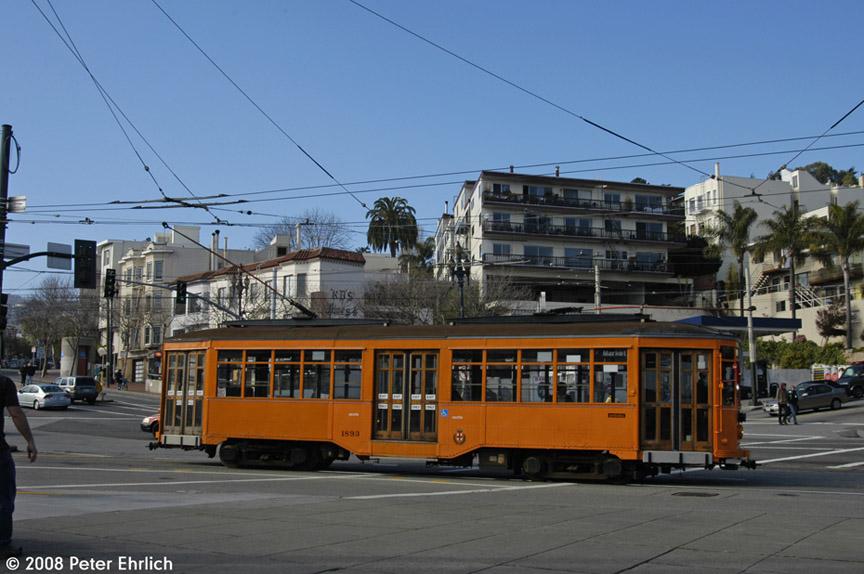 (173k, 864x574)<br><b>Country:</b> United States<br><b>City:</b> San Francisco/Bay Area, CA<br><b>System:</b> SF MUNI<br><b>Location:</b> Market/17th/Castro <br><b>Car:</b> Milan Milano/Peter Witt (1927-1930)  1893 <br><b>Photo by:</b> Peter Ehrlich<br><b>Date:</b> 1/12/2008<br><b>Viewed (this week/total):</b> 0 / 641