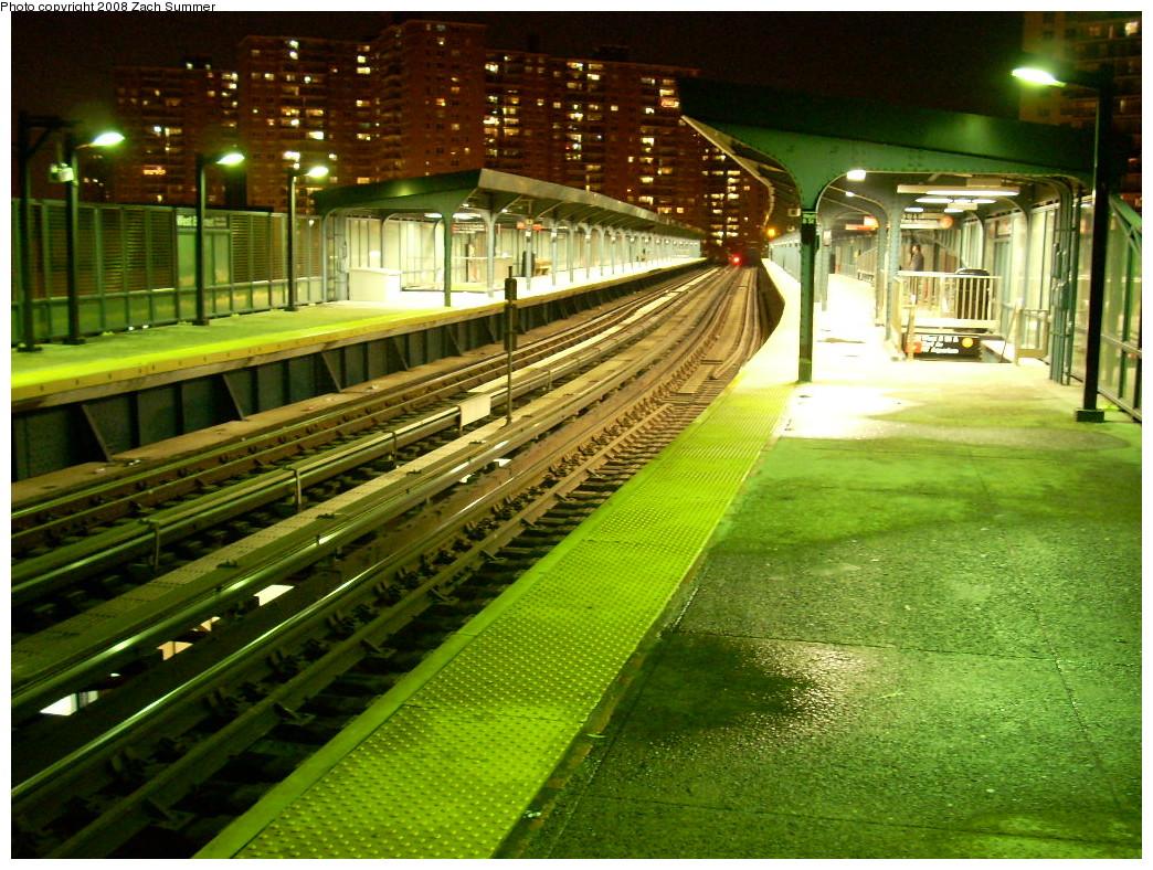 (327k, 1044x788)<br><b>Country:</b> United States<br><b>City:</b> New York<br><b>System:</b> New York City Transit<br><b>Line:</b> BMT Brighton Line<br><b>Location:</b> West 8th Street <br><b>Photo by:</b> Zach Summer<br><b>Date:</b> 12/14/2007<br><b>Notes:</b> Nighttime view.<br><b>Viewed (this week/total):</b> 0 / 2071