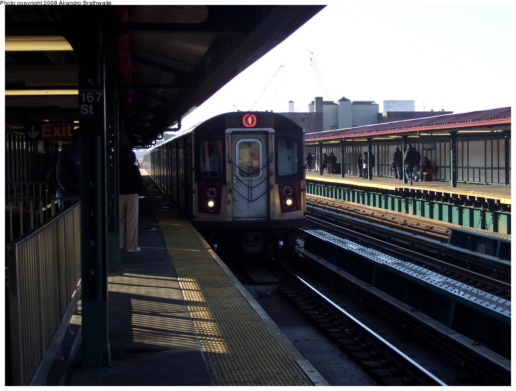 (214k, 1044x791)<br><b>Country:</b> United States<br><b>City:</b> New York<br><b>System:</b> New York City Transit<br><b>Line:</b> IRT Woodlawn Line<br><b>Location:</b> 167th Street <br><b>Route:</b> 4<br><b>Car:</b> R-142 (Option Order, Bombardier, 2002-2003)  1200 <br><b>Photo by:</b> Aliandro Brathwaite<br><b>Date:</b> 12/31/2007<br><b>Viewed (this week/total):</b> 3 / 2592
