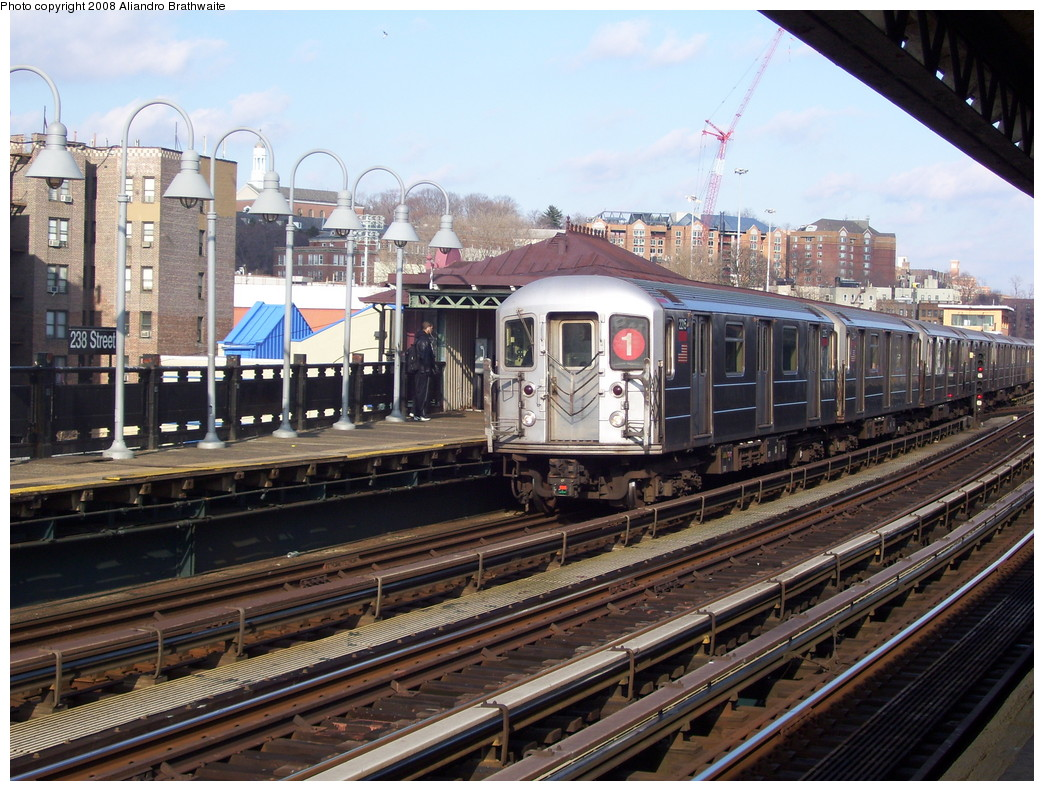 (278k, 1044x791)<br><b>Country:</b> United States<br><b>City:</b> New York<br><b>System:</b> New York City Transit<br><b>Line:</b> IRT West Side Line<br><b>Location:</b> 238th Street <br><b>Route:</b> 1<br><b>Car:</b> R-62A (Bombardier, 1984-1987)  2196 <br><b>Photo by:</b> Aliandro Brathwaite<br><b>Date:</b> 12/31/2007<br><b>Viewed (this week/total):</b> 2 / 2774