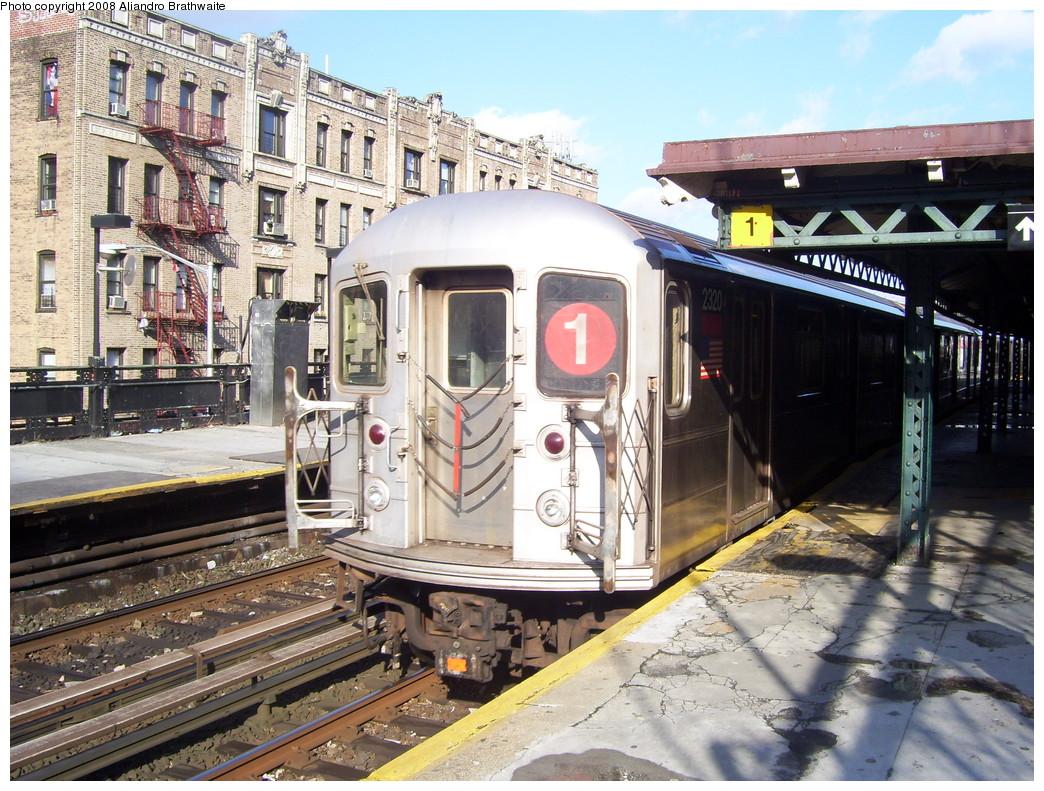 (304k, 1044x791)<br><b>Country:</b> United States<br><b>City:</b> New York<br><b>System:</b> New York City Transit<br><b>Line:</b> IRT West Side Line<br><b>Location:</b> Dyckman Street <br><b>Route:</b> 1<br><b>Car:</b> R-62A (Bombardier, 1984-1987)  2320 <br><b>Photo by:</b> Aliandro Brathwaite<br><b>Date:</b> 12/31/2007<br><b>Viewed (this week/total):</b> 2 / 1921