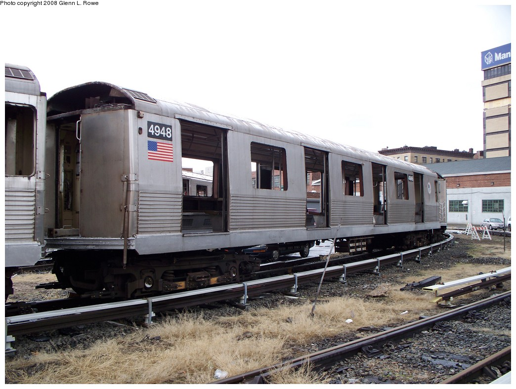 (232k, 1044x788)<br><b>Country:</b> United States<br><b>City:</b> New York<br><b>System:</b> New York City Transit<br><b>Location:</b> 207th Street Yard<br><b>Car:</b> R-42 (St. Louis, 1969-1970)  4948 <br><b>Photo by:</b> Glenn L. Rowe<br><b>Date:</b> 1/30/2008<br><b>Viewed (this week/total):</b> 0 / 2075