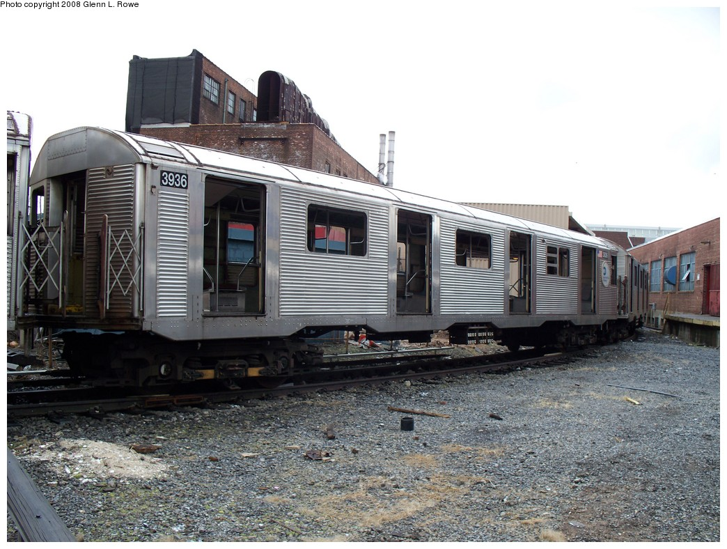 (254k, 1044x788)<br><b>Country:</b> United States<br><b>City:</b> New York<br><b>System:</b> New York City Transit<br><b>Location:</b> 207th Street Yard<br><b>Car:</b> R-32 (GE Rebuild) 3936 <br><b>Photo by:</b> Glenn L. Rowe<br><b>Date:</b> 1/30/2008<br><b>Viewed (this week/total):</b> 1 / 1762
